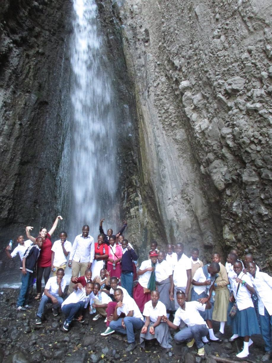 group with waterfall